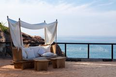 deck chair by the sea - stock photo