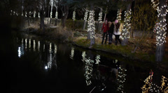 Teen Girls Stand By A Pond Among Trees Lit For Holidays, One Tosses A Rock In It Stock Footage