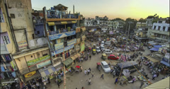 New Delhi Pahar Ganj area roof top view time lapse 4k Stock Footage