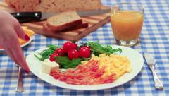 Breakfast with bacon and eggs Stock Footage