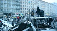 Barricade near Valeriy Lobanovskyi Dynamo Stadium, Euro maidan meeting, Kiev. Stock Footage