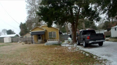 Louisiana neighborhood under snow Stock Footage