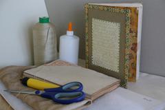 handmade agenda with copric binding - stock photo