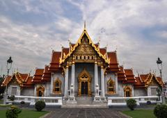 marble temple (wat benchamabophit dusitvanaram), tourist attraction, bangkok, - stock photo