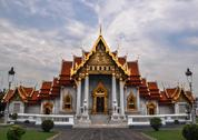 Stock Photo of marble temple (wat benchamabophit dusitvanaram), tourist attraction, bangkok,