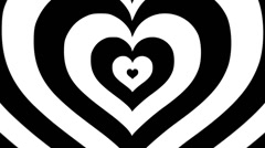 Black and White Hearts zooming out Stock Footage