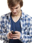 sending text messages - stock photo