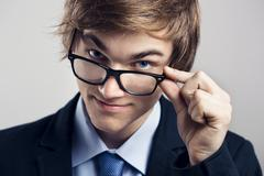 Business man with glasses Stock Photos