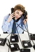 Answering multiple calls at the same time Stock Photos