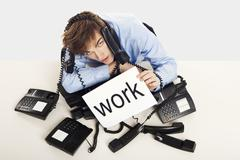 full of work - stock photo