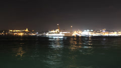 Time lapse  ferry night traffic at Bosporus Stock Footage