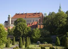 Poland, krakow, wawel royal castle from garden of archeological museum Stock Photos