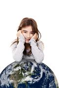 girl with the planet earth - stock photo