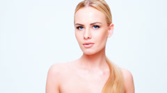 Blond Young Woman Posing Isolated on White Stock Footage