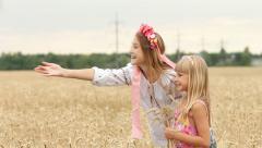 Two Happy Ukrainian Girls Admiring Wheat Field Landscape HD Stock Footage