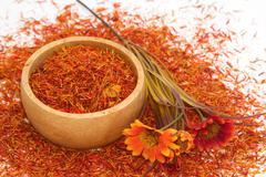 safflower, false saffron, saffron thistle (carthamus tinctorius linn.) - stock photo