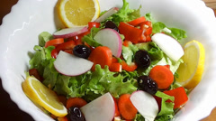 Salad with Olive  Oil - stock footage