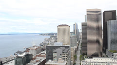Seattle Street and Skyscapers Tilt Down Stock Footage