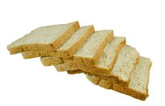 wheat bread on a white background, flour products. - stock photo