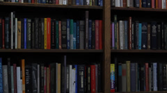 Library Bookshelf Tilt Up Stock Footage
