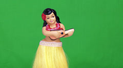 Green Screen  Hawaiian Hula Girl Doll Dancing Stock Footage