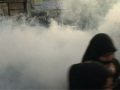 Tear gas Fired at Women Protesting Against Quetta Shia Killings Stock Footage