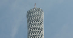 4K video of the top of the Canton Tower in Guangzhou, China Stock Footage