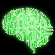 illustration of green color human brain in form of circuit board - stock illustration