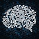 Stock Illustration of illustration of human brain in form of circuit board on blue background