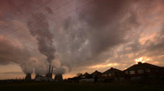 time lapse sunrise at Ferrybridge power station, Yorkshire, United Kingdom - stock footage