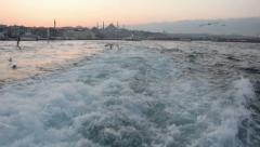 Sea view from a passenger boat in Istanbul Stock Footage