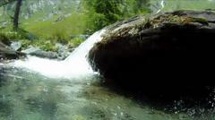 Underwater camera in mountain stream Stock Footage