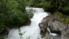 Waterfall and landscape of Zillertal Alps Stock Footage