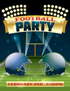 american football party flyer - stock illustration