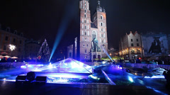 Old Town. New Year's Eve in Krakow, Poland Stock Footage