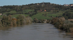 The Tiber river north of Rome Stock Footage