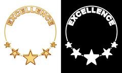 Excellence award with five stars Stock Illustration