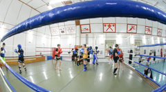 Boxing is in a ring, children on training Stock Footage