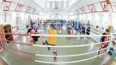 In a ring on training on boxing Stock Footage