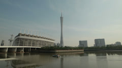 HD video of Guangzhou and the famous Canton Tower in China - stock footage