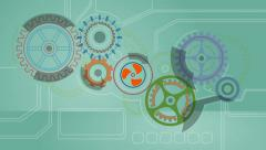 Turning Cogs Animation Stock Footage