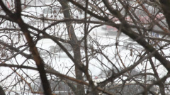 Heavy snow in the city, snowfall, traffic, people on the street, bad weather Stock Footage