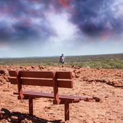 Stock Photo of bench in the australian outback under a beautiful sunshine