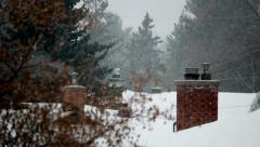 House Chimneys in Winter Stock Footage