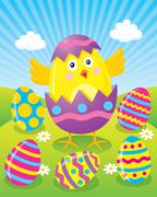 Easter Chick Hatching from Colored Easter Egg - stock illustration