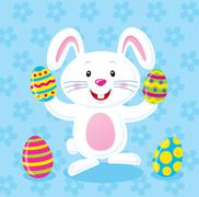 Bunny Holding Easter Eggs Stock Illustration