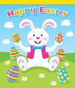 Easter Bunny Sitting with Easter Eggs Stock Illustration
