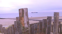 Ship on the winter sea. - stock footage
