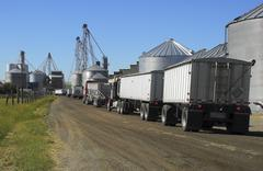 Semi trucks line up to haul grain from the silos. Stock Photos