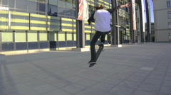 Young skateboarder performing tricks Stock Footage